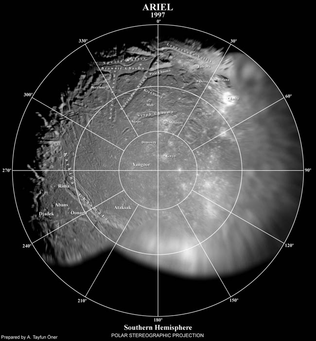 Polar Stereographic Map of Ariel