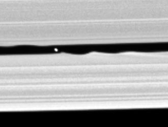 newly-discovered moon seen within the Keeler gap in Saturn's rings