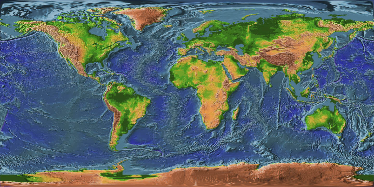 Topographic Map Of The Earth - Nasa topographic map