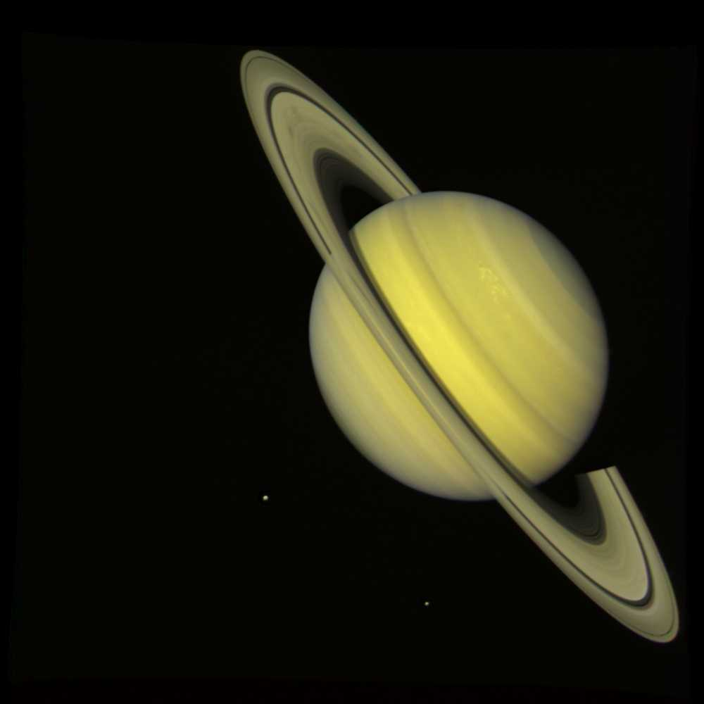 Saturn nasas voyager 2 took this photograph of saturn on july 21 1981 when the spacecraft was 339 million kilometers 21 million miles from the planet altavistaventures Images