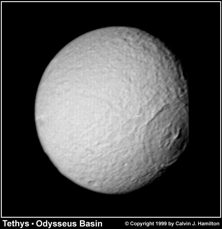 odysseus basin on saturns moon tethys