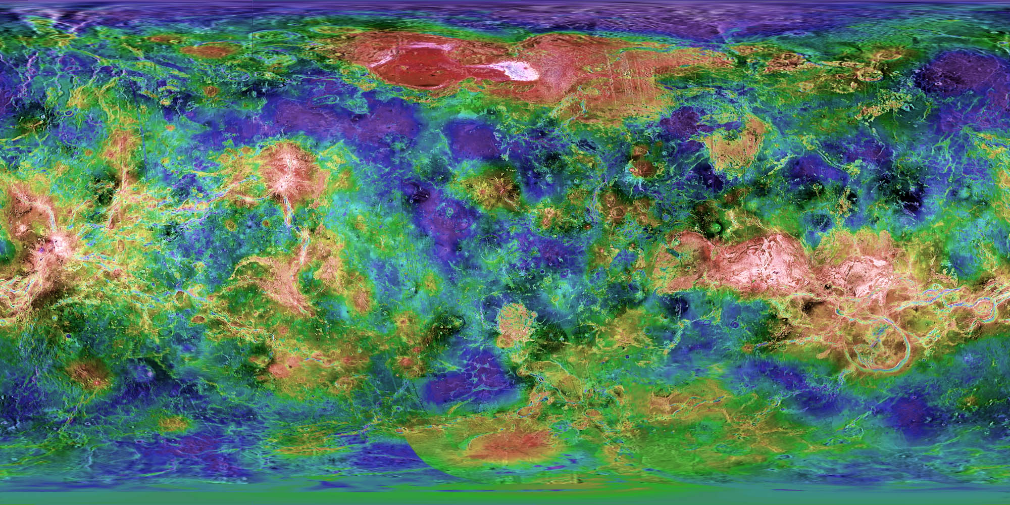 Topographical Cylindrical Map Of Venus - Ground elevation map