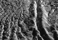 Perspective view of Damascus Sulcus, Enceladus