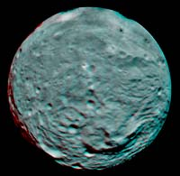Anaglyph Image of Vesta's South Polar Region